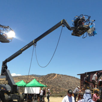 Cherry Picker used on a Movie Set